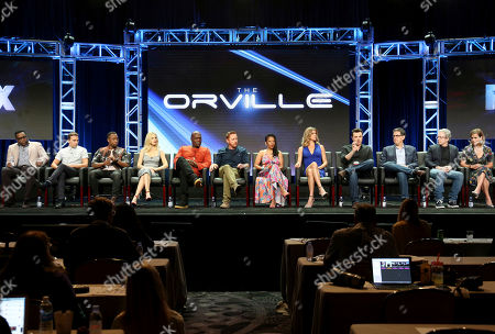 "Chad L. Coleman, Mark Jackson, J. Lee, Halston Sage, Peter Macon, Scott Grimes, Penny Johnson Jerald, Adrianne Palicki, Seth MacFarlane, David A. Goodman, Brannon Braga, Liz Heldens Chad L. Coleman, from left, Mark Jackson, J. Lee, Halston Sage, Peter Macon, Scott Grimes, Penny Johnson Jerald, Adrianne Palicki, Seth MacFarlane, David A. Goodman, Brannon Braga and Liz Heldens participate in the ""The Orville"" panel during the FOX Television Critics Association Summer Press Tour at the Beverly Hilton, in Beverly Hills, Calif"