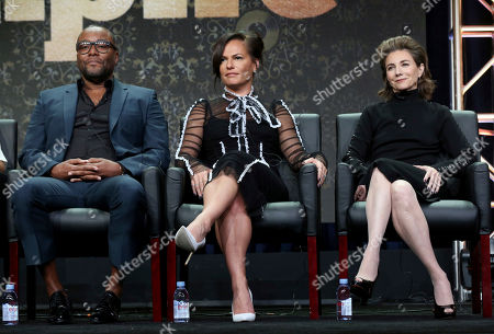 "Lee Daniels, Sanaa Hamri, Ilene Chaiken Lee Daniels, from left, Sanaa Hamri and Ilene Chaiken participate in the ""Empire"" panel during the FOX Television Critics Association Summer Press Tour at the Beverly Hilton, in Beverly Hills, Calif"