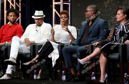 "Jussie Smollett, Terrence Howard, Taraji P. Henson, Lee Daniels, Sanaa Hamri, Ilene Chaiken Jussie Smollett, from left, Terrence Howard, Taraji P. Henson, Lee Daniels, Sanaa Hamri and Ilene Chaiken participate in the ""Empire"" panel during the FOX Television Critics Association Summer Press Tour at the Beverly Hilton, in Beverly Hills, Calif"