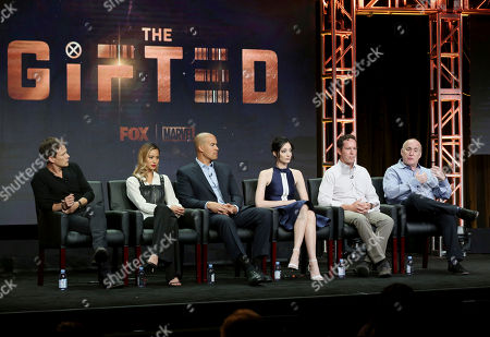 """Stephen Moyer, Jamie Chung, Coby Bell, Emma Dumont, Matt Nix, Jeph Loeb Stephen Moyer, from left, Jamie Chung, Coby Bell, Emma Dumont, Matt Nix and Jeph Loeb participate in the """"The Gifted"""" panel during the FOX Television Critics Association Summer Press Tour at the Beverly Hilton, in Beverly Hills, Calif"""