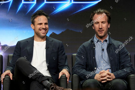 """Stock Picture of Tom Gormican, Kevin Etten Tom Gormican, left, and Kevin Etten participate in the """"Ghosted"""" panel during the FOX Television Critics Association Summer Press Tour at the Beverly Hilton, in Beverly Hills, Calif"""
