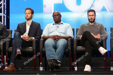 """Dan Goor, Andre Braugher, Andy Samberg Dan Goor, from left, Andre Braugher and Andy Samberg participate in the """"Tuesday Twosomes (Lethal Weapon, The Mick and Brooklyn Nine-Nine)"""" panel during the FOX Television Critics Association Summer Press Tour at the Beverly Hilton, in Beverly Hills, Calif"""
