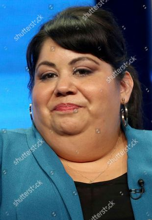 "Carla Jimenez participates in the ""Tuesday Twosomes (Lethal Weapon, The Mick and Brooklyn Nine-Nine)"" panel during the FOX Television Critics Association Summer Press Tour at the Beverly Hilton, in Beverly Hills, Calif"