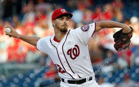 Washington Nationals starting pitcher A. J. Cole (22) throw during during the first inning of baseball game against the Miami Marlins, in Washington