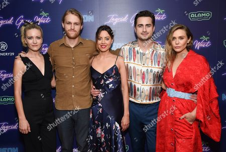 """Meredith Hagner, Wyatt Russell, Aubrey Plaza, Matt Spicer, Elizabeth Olsen Actors Meredith Hagner, left, Wyatt Russell, Aubrey Plaza, director and co-writer Matt Spicer and actress Elizabeth Olsen pose together at the premiere of """"Ingrid Goes West"""", hosted by Neon and The Cinema Society at the Alamo Drafthouse Cinema, in New York"""