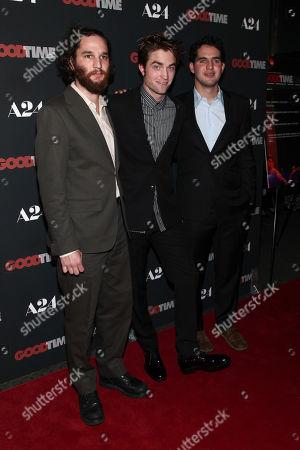 "Josh Safdie, Robert Pattinson, Benny Safdie Josh Safdie, from left, Robert Pattinson and Benny Safdie attend the premiere of ""Good Time"" at the SVA Theatre, in New York"