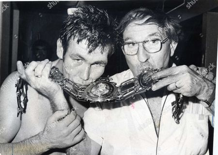 Boxer Kevin Finnegan Left (died October 2008) With His Trainer Freddie Hill And His Lonsdale Belt After Beating Tony Sibson