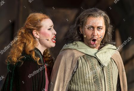 In this Aug. 8, 2017 photo Russian soprano Elena Stikhina as 'Leonora' and Ukrainian tenor Eduard Martynyuk as 'Manrico' play during the rehearsal of the opera in four acts 'Il Trovatore' by Guiseppe Verdi in Erfurt, central Germany, . The premiere of the opera under the direction of Juergen R. Weber is on Thursday, Aug. 10, 2017