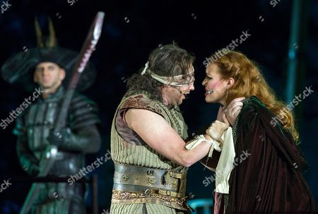Russian soprano Elena Stikhina as 'Leonora' and Ukrainian tenor Eduard Martynyuk as 'Manrico' (Troubadour), 2nd of left, play during the rehearsal of the opera in four acts 'Il Trovatore' (Der Troubadour) by Guiseppe Verdi in Erfurt, central Germany, . For quite some time viewers have traveled not only from Germany, but also from many other countries, as well as from the USA, China and Australia to one of the most beautiful open-air stages in Europe. The premiere of the opera under the direction of Juergen R. Weber is on Thursday, Aug. 10, 2017