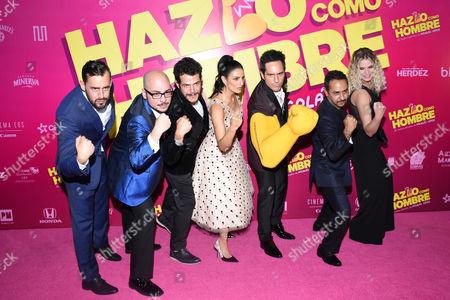 Stock Photo of (L to R) Ariel Levi, Nicolas Lopez, Alfonso Dosal, Aislinn Derbez, Mauricio Ochmann, Ignacia Allamand