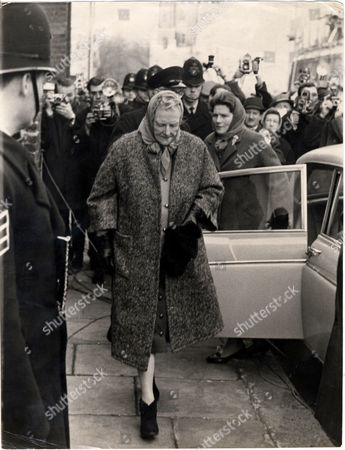 Stock Picture of Lady Clementine Churchill (baroness Spencer Churchill Of Chartwell) Followed By Mary Soames Pictured Arriving Back To Her Hyde Park Gate Home Where Sir Winston Churchill Is Gravely Ill.
