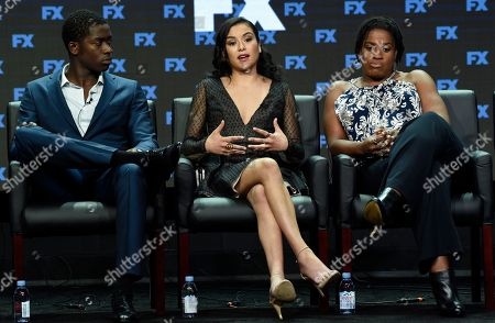 """Damson Idris, Emily Rios, Michael Hyatt Damson Idris, from left, Emily Rios and Michael Hyatt participate in the """"Snowfall"""" panel during the FX Television Critics Association Summer Press Tour at the Beverly Hilton, in Beverly Hills, Calif"""