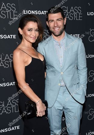 """Tess Sanchez, Max Greenfield Actor Max Greenfield and wife Tess Sanchez attend the premiere of """"The Glass Castle"""" at the SVA Theatre, in New York"""