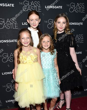 "Olivia Kate Rice, Sadie Sink, Chandler Head, Ella Anderson Actors Olivia Kate Rice, left, Sadie Sink, Chandler Head and Ella Anderson attend the premiere of ""The Glass Castle"" at the SVA Theatre, in New York"
