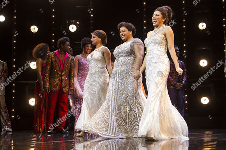Asmeret Ghebremichael (Lorrell Robinson), Marisha Wallace (Effie White) and Liisi LaFontaine (Deena Jones) during the curtain call