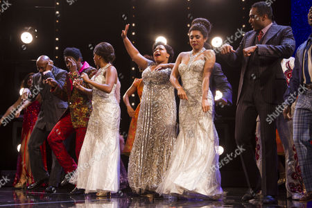 Adam J Bernard (Jimmy Early), Asmeret Ghebremichael (Lorrell Robinson), Marisha Wallace (Effie White), Liisi LaFontaine (Deena Jones) and Joe Aaron Reid (Curtis Taylor Jr) during the curtain call