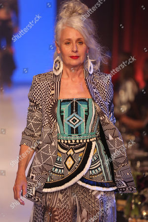 Stock Photo of Sarah Jane Adams on the catwalk wearing Camilla
