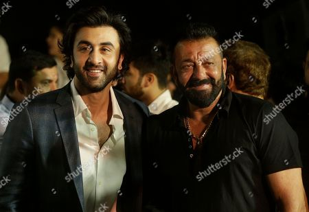 Ranbir Kapoor, Sanjay Dutt Bollywood actors Ranbir Kapoor, left, and Sanjay Dutt arrive for the trailer launch of film Bhoomi in Mumbai, India, . The film is scheduled to be released on September 22, 2017
