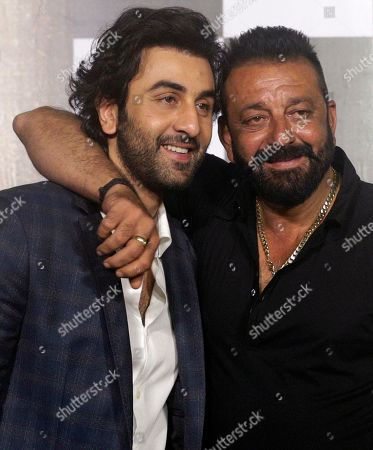 Ranbir Kapoor, Sanjay Dutt Bollywood actors Ranbir Kapoor, left, and Sanjay Dutt pose during the trailer launch of film Bhoomi in Mumbai, India, .The film is scheduled for release on September 22, 2017