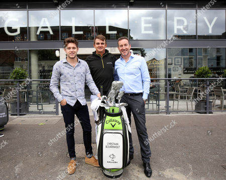 (from L-R) music artist and co-director of Modest! Niall Horan, rising golf star Christiaan Bezuidenhout and Chief Executive of The Richland Group The Gallery proprietor, Gary McCausland.