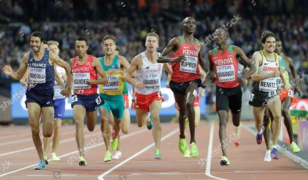 Germany's Timo Benitz, Kenya's Elijah Motonei Manangoi, Kenya's Asbel Kiprop, Poland's Marcin Lewandowski, Australia's Jordan Williamsz, Morocco 's Abdalaati Iguider and France's Mahiedine Mekhissi race in a Men's 1500m heat during the World Athletics Championships in London