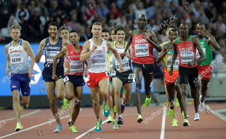 Kenya's Elijah Motonei Manangoi, Kenya's Asbel Kiprop, Germany's Timo Benitz, Poland's Marcin Lewandowski, Morocco 's Abdalaati Iguider, France's Mahiedine Mekhissi and Britain's Josh Kerr race in a Men's 1500m heat during the World Athletics Championships in London