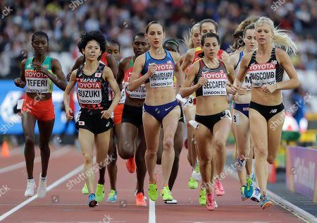 Stock Photo of New Zealand's Camille Buscomb, Canada's Andrea Seccafien, United States' Shannon Rowbury, Japan's Ayuko Suzuki and Ethiopia's Senbere Teferi, from right, compete in a Women's 5000m heat during the World Athletics Championships in London