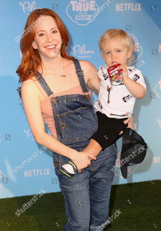 """Amy Davidson, Lennox Sawyer Lockwood Amy Davidson, left, and son Lennox Sawyer Lockwood arrive at the Special Screening of """"True and the Rainbow Kingdom"""" at The Grove, in Los Angeles"""