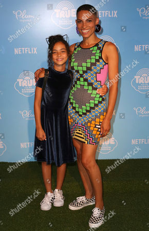 """Goapele, Bahia Osun Rodrigues Goapele, right, and daughter Bahia Osun Rodrigues arrive at the Special Screening of """"True and the Rainbow Kingdom"""" at The Grove, in Los Angeles"""