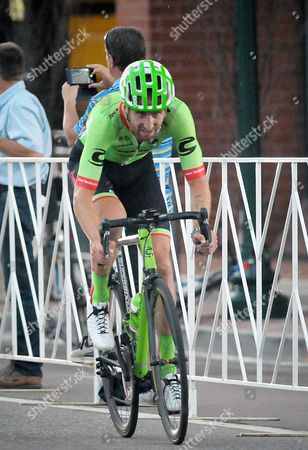 Colorado Springs, Colorado, U.S. - Cannondale Drapac rider, Taylor Phinney, attempts a solo breakaway during the opening stage of the inaugural Colorado Classic cycling race, Colorado Springs, Colorado
