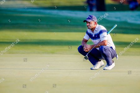 Pablo Larrazabal of Spain looks for his line on the tenth green the first round of the 99th PGA Championship at Quail Hollow Club in Charlotte, NC