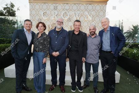 Ted Sarandos - Netflix Chief Content Officer, Nina Gold - Casting Director, Martin Childs - Production Designer, Peter Morgan - Creator/Writer, Adriano Goldman - Cinematographer and John Lithgow