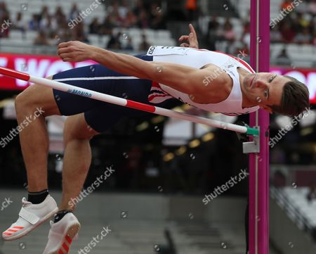 Ashley Bryant of Great Britain competes in the High Jump event of the Decathlon at the London 2017 IAAF World Championships in London, Britain, 11 August 2017.