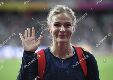 Silver medalist Darya Klishina of Russia reacts after the women's Long Jump final at the London 2017 IAAF World Championships in London, Britain, 11 August 2017.