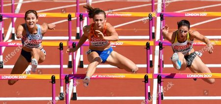 South Korea's Hyelim Jung, Netherlands' Nadine Visser and Germany's Nadine Hildebrand, from left, race in a Women's 100m hurdles heat during the World Athletics Championships in London
