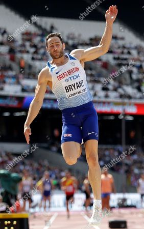 Britain's Ashley Bryant makes an attempt in the long jump of the decathlon during the World Athletics Championships in London