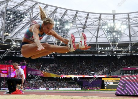 Russia's Darya Klishina makes an attempt in the women's long jump final during the World Athletics Championships in London