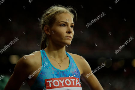 Russia's Darya Klishina concentrates during the women's long jump final during the World Athletics Championships in London