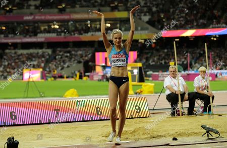 Russia's Darya Klishina reacts after her attempt in the women's long jump final during the World Athletics Championships in London