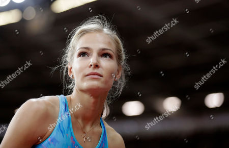 Russia's Darya Klishina smiles in the women's long jump final during the World Athletics Championships in London