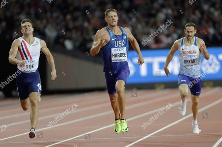 Norway's Martin Roe, United States' Trey Hardee and Britain's Ashley Bryant race in a Decathlon 400m heat during the World Athletics Championships in London