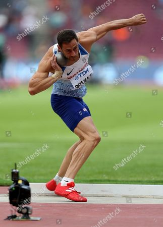 Ashley Bryant of Great Britain during the Decathlon Men's Shot Putt