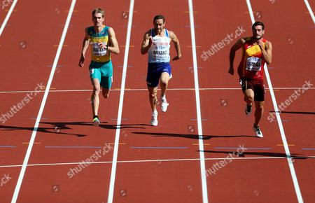 Ashley Bryant of Great Britain (centre) during the Decathlon Men's 100 meters heats