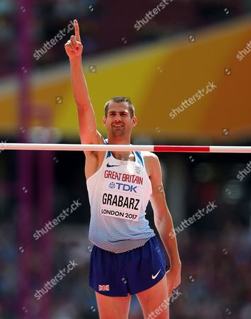 Robbie Grabarz of Great Britain celebrates during the Men's High Jump qualification