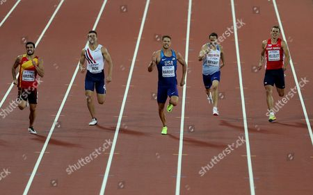 Ashley Bryant of Great Britain (2nd right) during the Decathlon Men's 400 meters