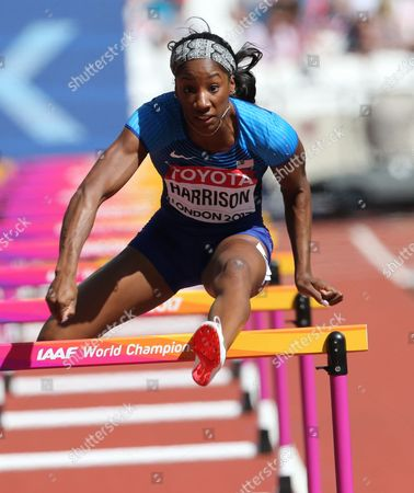 Kendra Harrison of the USA in the 100  urdles