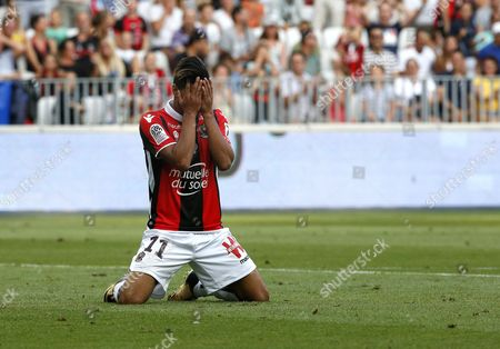 Bassem Srarfi of OGC Nice reacts during the French Ligue 1 soccer match, OGC Nice vs Estac Troyes , at the Allianz Riviera stadium, in Nice, France, 11 August 2017.