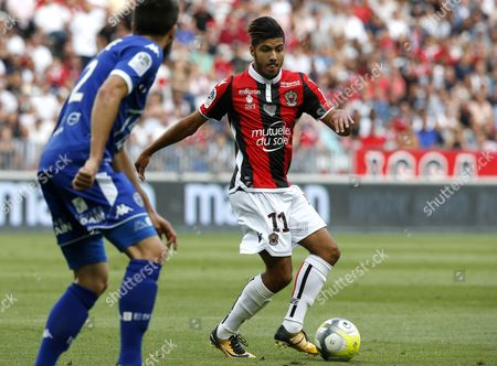 Bassem Srarfi of OGC Nice (R) vies for the ball with Mathieu Deplagne of Estac Troyes (L) during the French Ligue 1 soccer match, OGC Nice vs Estac Troyes , at the Allianz Riviera stadium, in Nice, France, 11 August 2017.