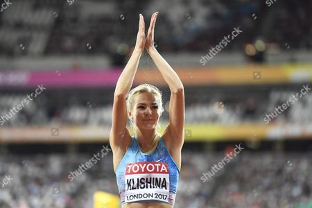 Darya Klishina, Neutral Flag, during the women's long jump final at the athletics IAAF World Championships in London, Britain on August 11, 2017.