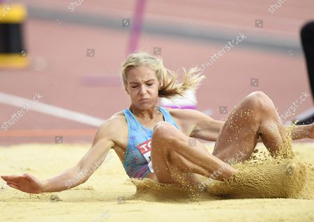 Darya Klishina, Neutral Flag, competes during the women's long jump final at the athletics IAAF World Championships in London, Britain on August 11, 2017.